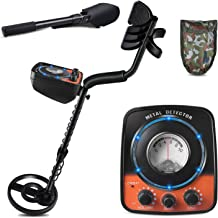 kuman Metal Detector with Headphone Jack, High-Accuracy Metal Finder with Search Coil for Metal Detecting with Multi-Function Retractable Scoop to Find Treasure