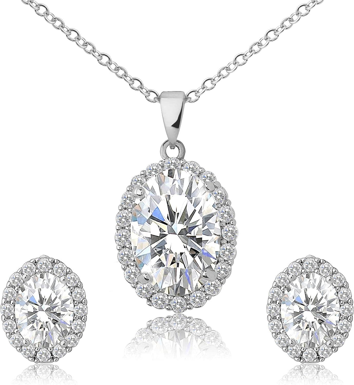 Swarovski Crystal 18K Gold Plated Jewelry Set for Women/Girls, Pendant Necklace, Dangling Drop Earrings, Hypoallergenic Jewelry Set