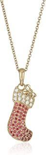"Yellow Gold-Plated Swarovski Zirconia Stocking Christmas Pendant Necklace, 16""+2"" Extender"
