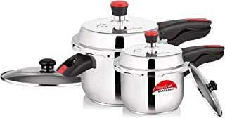 GREENCHEF B and B 304 Grade Stainless Steel Cookers Combo with Glass Lid (5 L and 2 L, Silver)