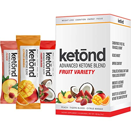 Ketond Advanced Ketone Supplement — Best Ketone Weight Loss Supplement — Citrus Mango, Tigers Blood, Peach (15 Stick Packs)