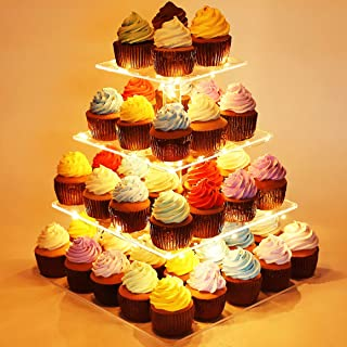 Kootek 4 Tier Acrylic Cupcake Stand with LED String Lights Dessert Tower Tiered Tree Square Cake Display Stands Pastry Serving Platter for Party Wedding Birthday Holidays Buffets Baby Shower