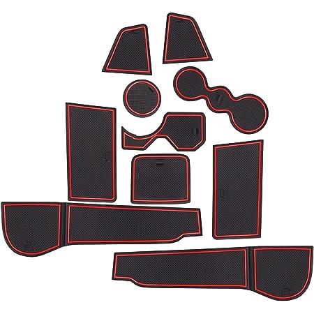 Lfotpp Golf 8 Mk8 Gti Gtd Gte 2020 Gummimatten Getränkehalter Innentür Matten Mittelkonsole Antirutschmatten Türschlitzmatte Auto Zubehör 10 Stücke Rot Auto