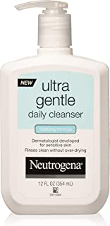 Neutrogena Ultra Gentle Daily Facial Cleanser for Sensitive Skin, Oil-Free, Soap-Free, Hypoallergenic & Non-Comedogenic Foaming Face Wash, 12 fl. oz (Pack of 2)