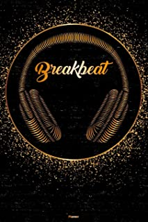 Breakbeat Planner: Breakbeat Golden Headphones Music Calendar 6 x 9 inch 120 pages gift