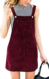 Womens Corduroy Suspender Skirt Mini Bib Overall Pinafore Dress with Pocket