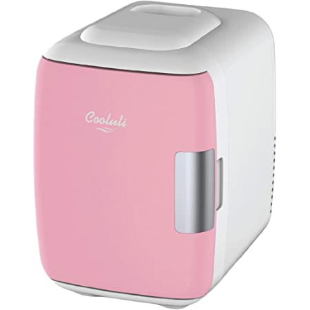 Cooluli Mini Fridge Electric Cooler and Warmer (4 Liter / 6 Can): AC/DC Portable Thermoelectric System w/ Exclusive On the Go USB Power Bank Option (Pink)