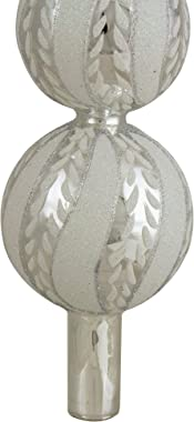 """Northlight 14.75"""" Silver and White Glitter Glass Finial Christmas Tree Topper"""