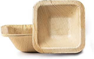 "3"" Square Disposable Palm Leaf Plates By Posh Setting– 100% Compostable Bamboo-Style Natural Palm Leaf Party Plates– Eco-f..."