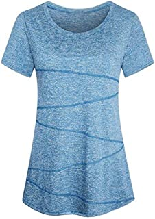 Women Short Sleeve Round Neck Workout Shirts Activewear Yoga Tops
