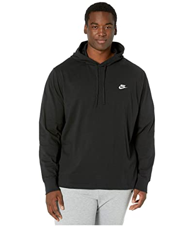 Nike Big Tall NSW Club Hoodie Pullover Jersey (Black/White) Men