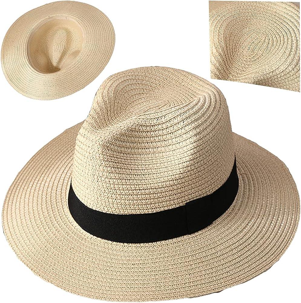 Straw Beach Sun Hat Summer Golf Outdoor Fedora Cap Wide Brim Floppy Foldable Sun Protection
