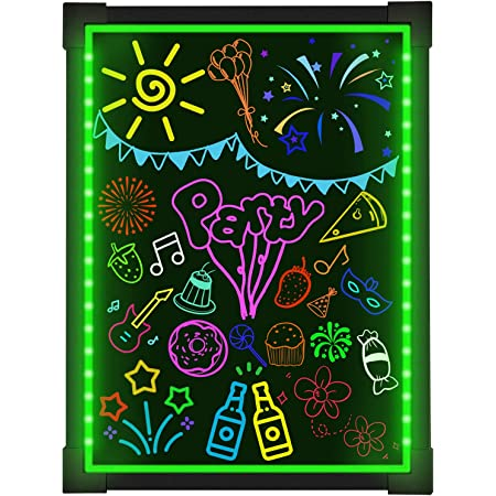 """Woodsam Led Writing Board- 28"""" X 20"""" Erasable Message Drawing Neon Sign with 8 Colorful Markers - Perfect for Children, Back to School, Home, Office, Restaurants, Bar, Holiday Celebration Gift"""