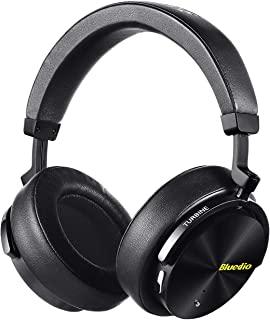 Bluedio T5 Active Noise Cancelling Headphones Over Ear Wireless Bluetooth Headphones with Mic Portable Stereo Headsets for Cell Phones Travel Work(Black)