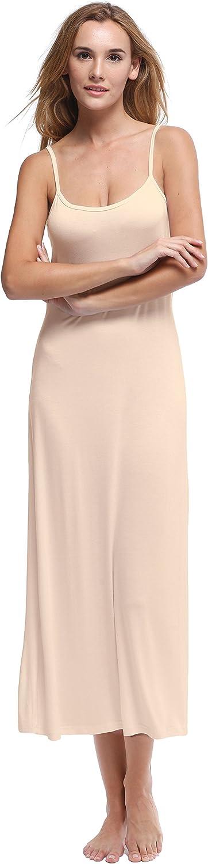 Papicutew Women's Modal Long Full Cami Slip Dress Sleeveless Nightgowns