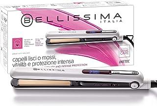 Imetec Bellissima B9 400 - Plancha para el pelo, peinado liso u ondulado, revestimiento de cerámica y queratina, placas redondeadas, color blanco