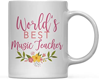 Andaz Press 11oz Coffee Mug Teacher Gag Gift, Floral Flowers Design, World's Best Music Teacher, 1-Pack, Funny Witty Coffee Cup Birthday Christmas Graduation Present Ideas for Her