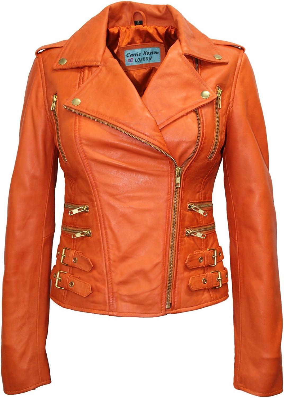 MYSTIQUE Ladies orange Vintage WASH & WAX Biker Motorcycle Designer Leather Jacket