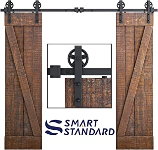 SMARTSTANDARD 8ft Heavy Duty Double Door Sliding Barn Door Hardware Kit-Smoothly and Quietly - Easy to install - Includes Step-By-Step Installation Instruction Fit 24