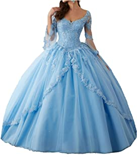 Women Sheer Lace Long Sleeve Ball Gowns Tulle Beaded Girls Quinceanera Dresses