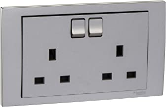 Schneider Electric Vivace Silver - Double switched socket - 16 A x 250 V - 2 Gang, Silver