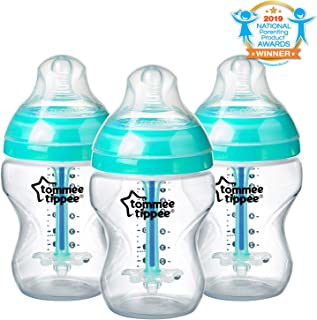 Tommee Tippee Advanced Anti-Colic Baby Bottle Feeding Set, Heat Sensing Technology, Breast-like Nipple, BPA-Free - 9 ounce, 3 Count