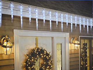 GE 20-Count 100 LED Twinkling Ice Crystal Icicle Set, Crystal White