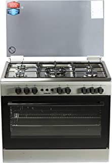 Nikai 90 X 60 cm, 5 Burners Gas Cooking Range, Silver Color With Glass Lid on Top - U9063FS, 1 Year Warranty
