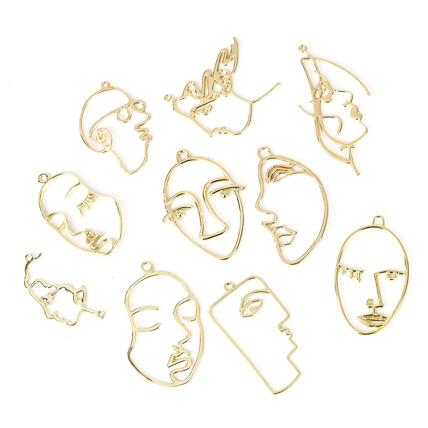 Monrocco 10Pcs Gold Plated Face Shape Pendant Charm for DIY Chain Necklace Earrings