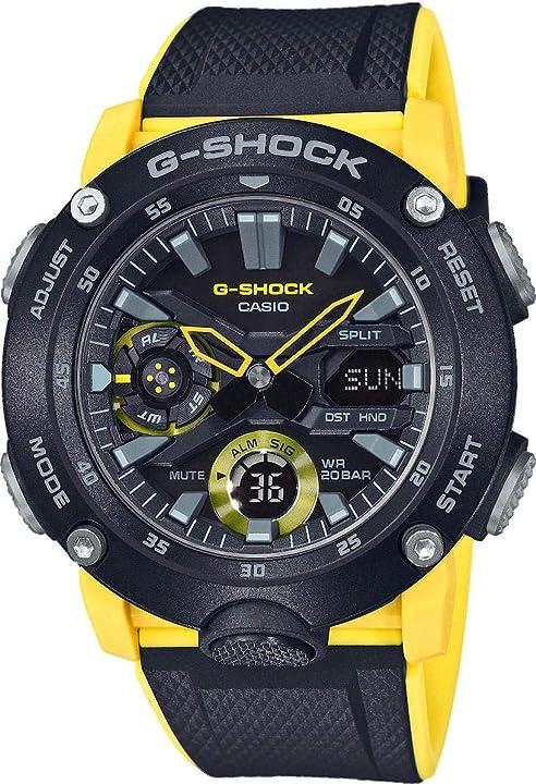 Orologio casio g-shock orologio 20 bar analogico - digitale uomo con cinturino in carbonio GA-2000-1A9ER