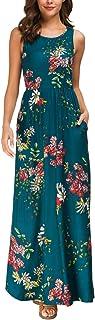 Zattcas Maxi Dresses for Women,Womens Crew Neck Sleeveless Summer Floral Maxi Dress with Pockets