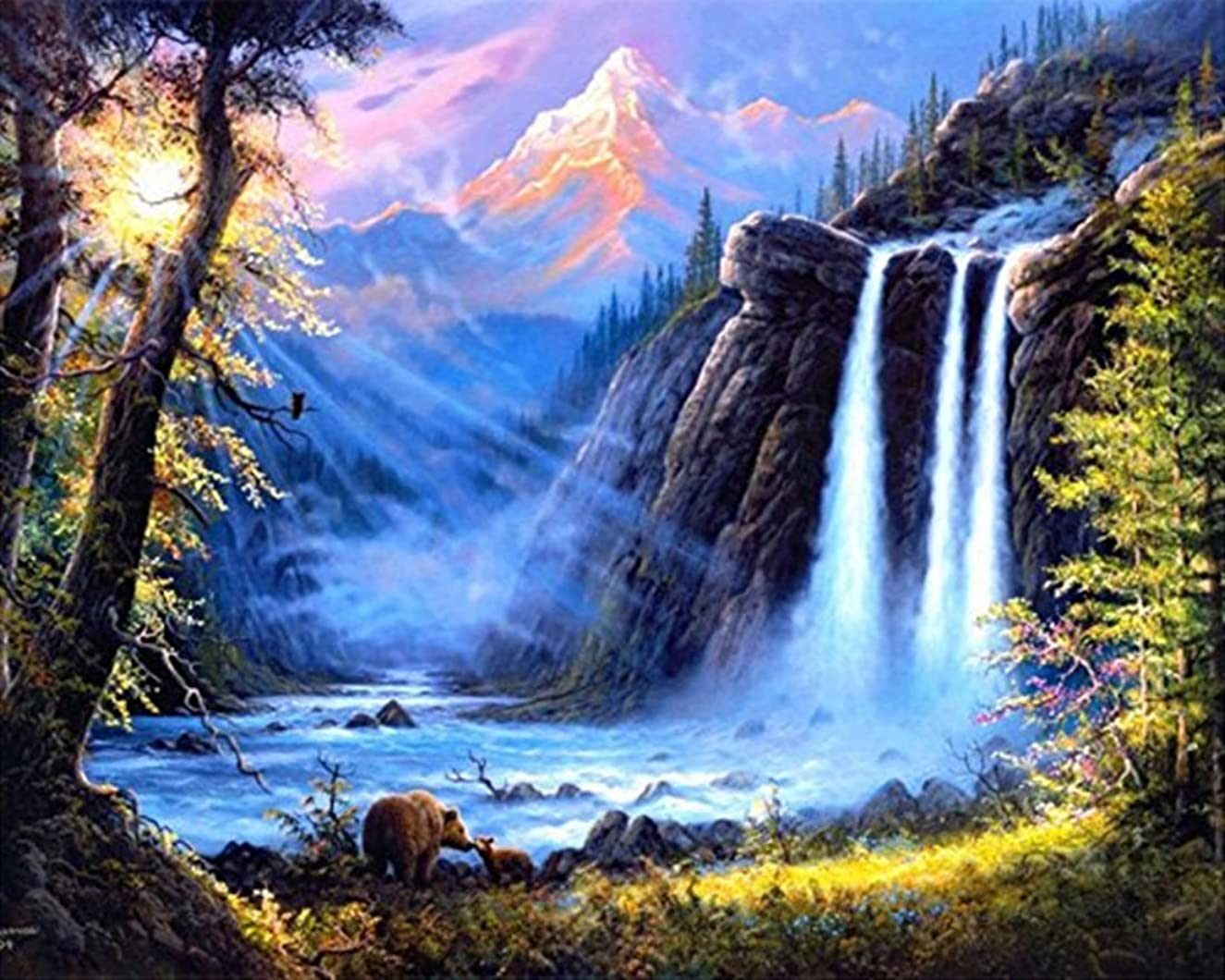 21secret 5D Diamond Diy Painting Full Round Drill Handmade Forest Waterfall Landscape Cross Stitch Home Decor Embroidery Kit