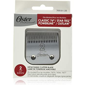 "Oster Professional 76918-126 Replacement Blade, Classic 76/Star-Teq/Power-Teq Clippers, Size #2, 1/4"" (6.3 mm)"