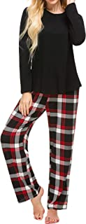 M-anxiu Pajama Set Womens 2 Pcs Cotton Top & Long Plaid Bottoms Sleepwear S-XXL