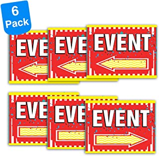 Pro Image Event Sign with Arrows | Double-Sided Full Color 12x16 Inch Two Direction Arrow Corrugated Plastic Signs (6 Pack)