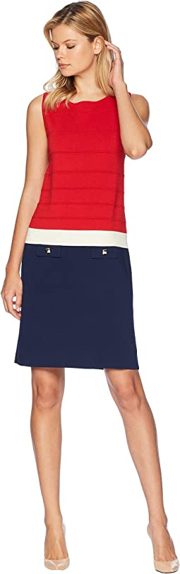 Ottoman Stitch Color Blocked Sheath Dress with Faux Pockets