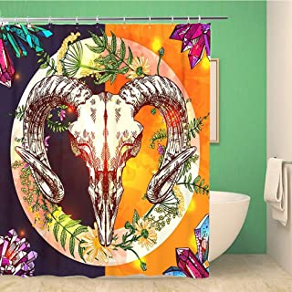 Awowee Bathroom Shower Curtain Anatomy Sketch Animal Skull Drawing Boho Tattoo Arrow Awesome 60x72 inches Waterproof Bath Curtain Set with Hooks