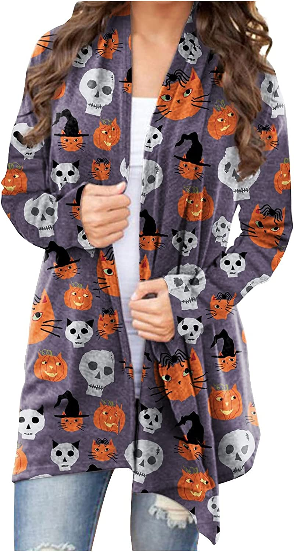 SZITOP Halloween Arlington Mall Women's Cardigan Fashion All items free shipping Black Pumpkin Ghost Ca
