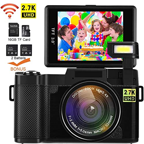 Video Camera Camcorder, DIWUER WiFi Digital Camera Recorder, 24.0MP Full HD 1080P Flip Screen Vlogging Camera with UV Lens, Flashlight, Two Batteries and TF Card