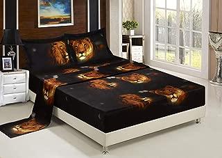 Bednlinens Luxury 4 Piece Sheet Set 3d Lion Pride Print King Size Black/Brown (LIONPRIDE-Y15)