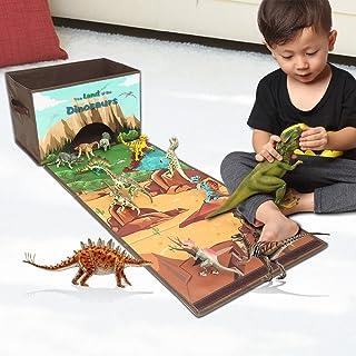 Livememory Caja de almacenamiento de juguetes de dinosaurios Organizador de juguetes de tela con alfombra de juego para niños niños(Dinosaurios no incluidos)