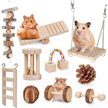 BestFire Hamster Chew Toys 14pcs Rabbit Toys Guinea Pig Toys Chinchilla Bunny Chew Toys Natural Wooden Chew Toy Gerbils Rats Toys Accessories Dumbbells Exercise Bell Roller Care Molar Toy for Teeth