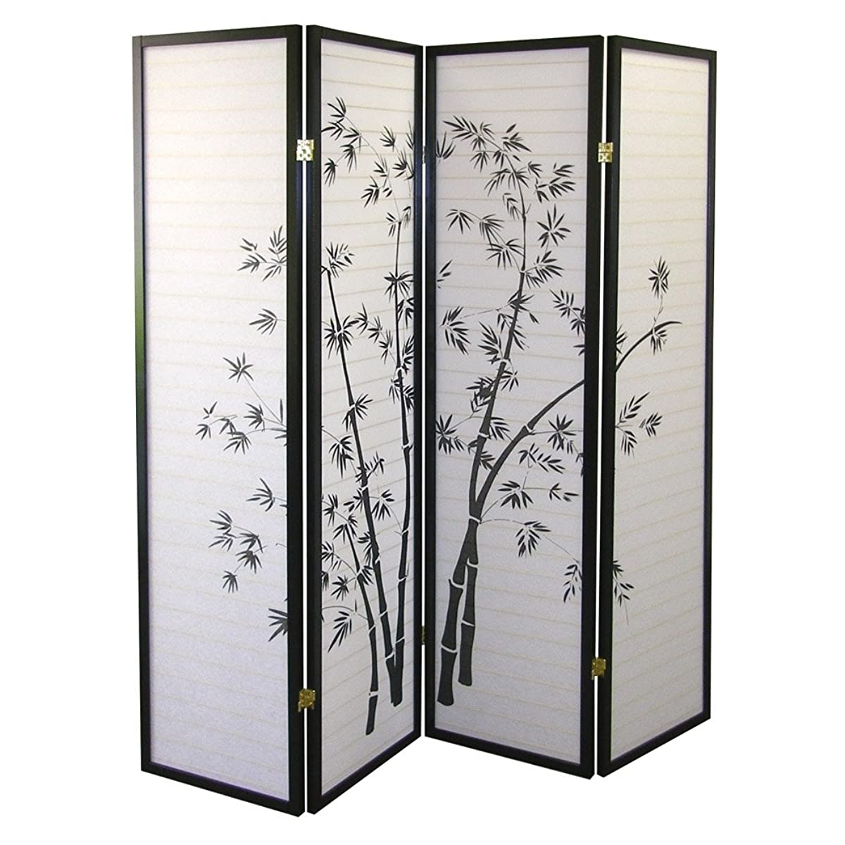 ORE International Black 4 Panel Bamboo Screen Room Divider