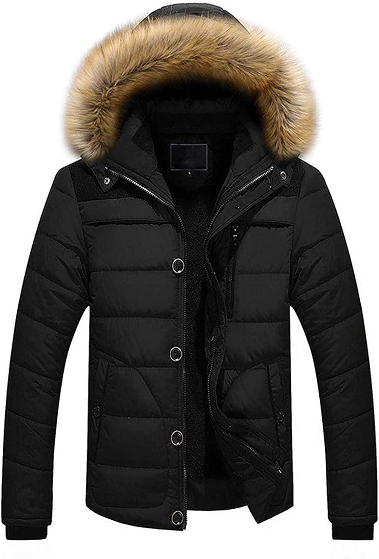 Men's Winter Windproof Fur Hood Full Zip Alternative Down Parka Jacket