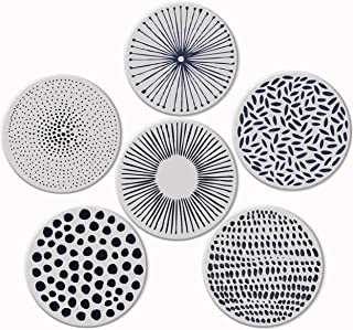 Pandoza Absorbent Coasters For Drinks - Grey Lines On LARGE Ceramic Stone With Cork Backing, Drink spills Thirsty Coaster Set of 6 No Holder, OVERSIZE BETTER Protects Furniture From Damage