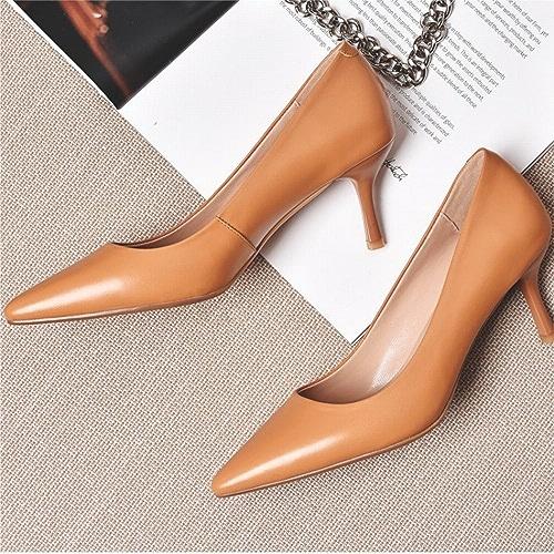 DIDIDD Souliers Simples Pointus, été avec Chaussures D'été Tempérament Chaussures en Peau de Mouton OL avec Talon Haut de Couleur Nude,Une,36