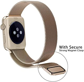 Stainless Steel Mesh Band strap with Screen protector for Apple Watch 38mm - Classic Gold