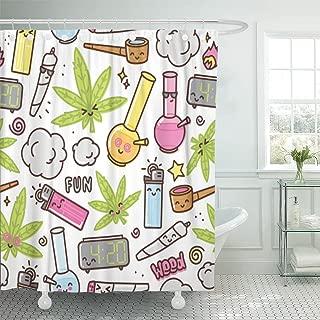 TOMPOP Shower Curtain Green Weed Marijuana Kawaii Cartoon White Pattern Cannabis Smoke Waterproof Polyester Fabric 72 x 72 Inches Set with Hooks