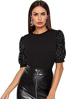 SheIn Women's Solid Sequin Glitter Puff Sleeve Tee Shirt Summer Round Neck Top