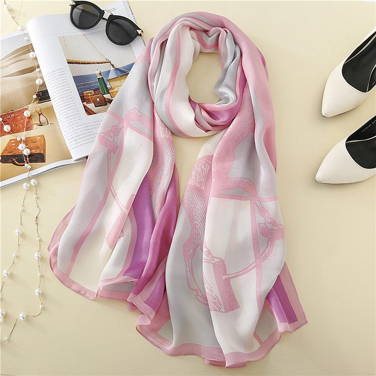 DHG Plaid Silk Silk Scarf Sun Shawl Ladies Long Scarf Scarf